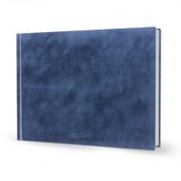 Livre photo rigide A4 paysage relié simili cuir bleu