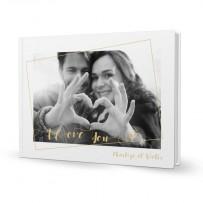 Livre rigide A4 paysage à couverture personnalisée «I love you»
